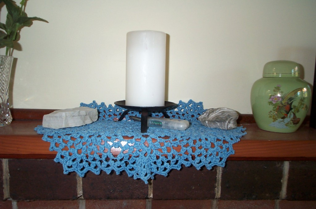 Blue oval doily