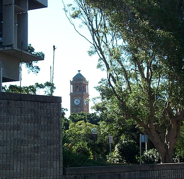 forground: art gallery; midground: laman street, civic park; background: city hall clock tower.