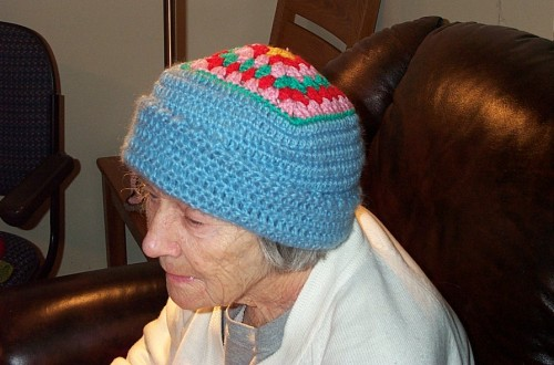 Mum's scrap yarn hat