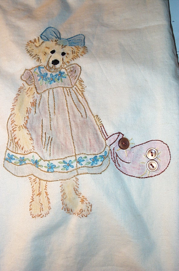 The knitting bag Phyllis embroidered for Mother